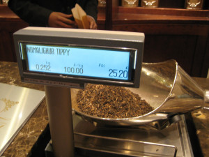 The fancy tea being measured